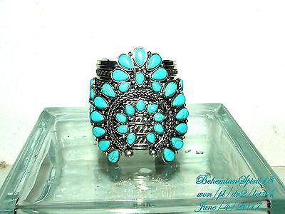 Tribal Inspired Wide Faux Turquoise Silver Tone Metal Cuff Bracelet
