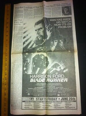 Blade Runner Movie Ad Magazine Clipping:Harrison Ford THE THING , Star Trek 1982