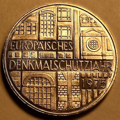 GERMANY - 5 Deutschmark 1975F - Proof Silver Coin - European Monument Protection