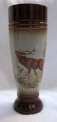 Thewalt Stoneware Tall Pilsner / Tankard with Elk Deer Scene From West Germany