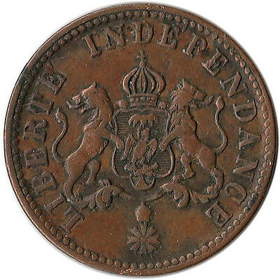 1850 Haiti 2 Centimes Coin KM#36 One Year Type