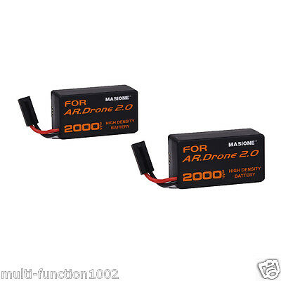 2x Masione 2.0Ah 11.1V 20C Upgrade Li-Po Battery For Parrot AR Drone 2.0 HD