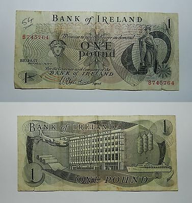 BANK OF IRELAND ONE POUND BANKNOTE - 1960's