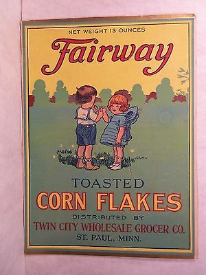 Antique Cereal Box Front FAIRWAY Toasted CORN FLAKES Twin City ST PAUL MINN
