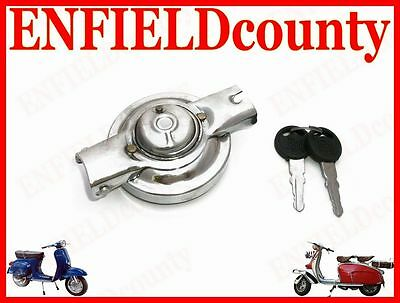 Brand New Vespa Complete Fuel Tank Lock Chrome Plated With 2 Keys  @cad