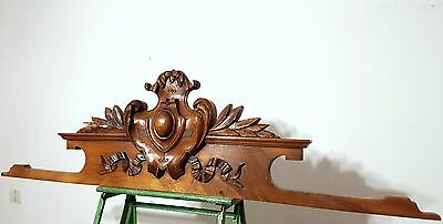 CARVED WOOD PEDIMENT SOLID ANTIQUE FRENCH WALNUT BOW COAT OF ARMS CREST 19 th