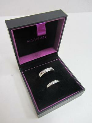 9ct (375) WHITE GOLD DIAMOND BANDS HIS & HERS RING SET UK HALLMARKED
