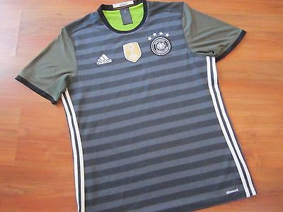Mens Grey 2016-17 ADIDAS GERMANY FOOTBALL AWAY Shirt Kit (L) *GREAT COND*