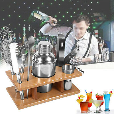 8 stk. Bar Set Cocktailshaker Cocktailset Barmixer Mixer + Holzständer TOLL