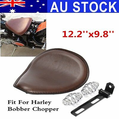 12.2'' Solo Spring Seat Bracket Base Leather Cushion For Harley Bobber Chopper