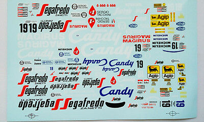 1/18 Toleman TG184 1984 F1 Candy water decal for minichamps diecast model car
