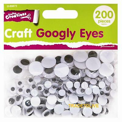 NEW 200 Craft Googly Wiggly Wobbly Eyes for crafty creations 3 Mixed Sizes