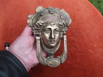 Large Heavy Brass Vintage Grecian Godess Door Knocker/roman Face Door Striker