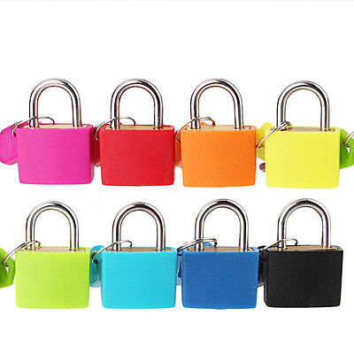 Small Locks Travel Luggage Bag Padlock Gym Locker Suitcase Lock W/ Keys 8 Colors