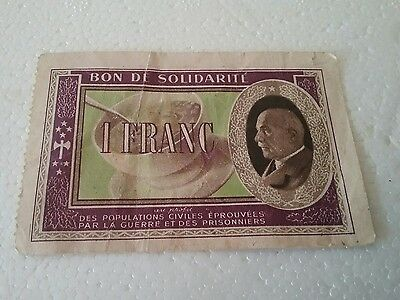 Billet France - Bon De Solidarité - 1 Franc Occupation - Petain -  Serie B.i