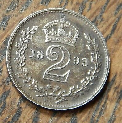 Maundy Twopence Victoria 1893 .925 Silver