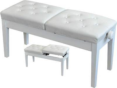 White Duet Piano Keyboard Stool Bench ADJUSTABLE Leather DUAL Seat 03-NJS076FW