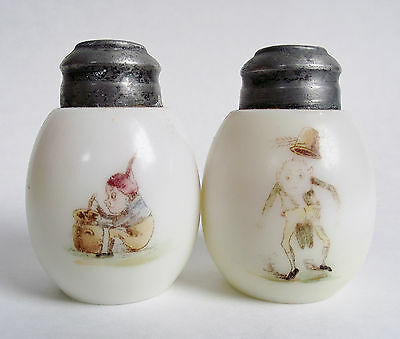PALMER COX BROWNIE Antique MT WASHINGTON SHAKERS Victorian Art GLASS SALT PEPPER