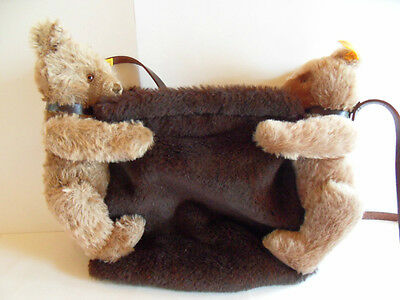 Steiff bear purse bag  RARE button flag made in Germany 876Ing
