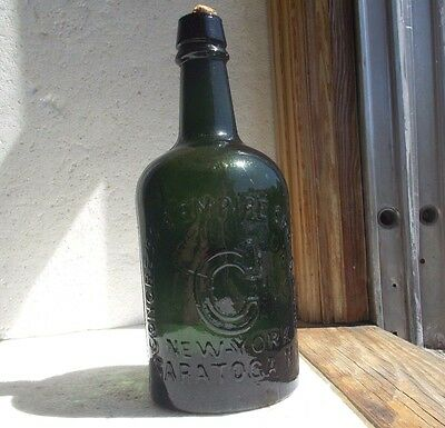 HOTCHKISS SONS CONGRESS WATER SARATOGA PRETTY GREEN QUART MINERAL WATER 1870s