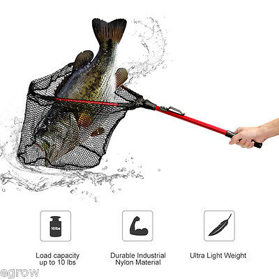 "Enkeeo Fishing Landing Net Fish Foldable Folding Aluminium Pole Mesh 16"" Wide"