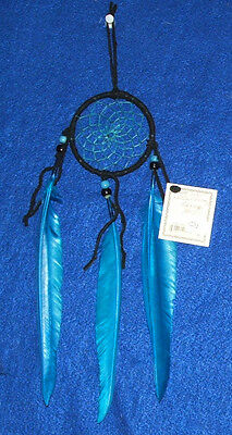 "Authentic Native American Dreamcatcher Navajo 3"" Black & Turquoise Blue #01"