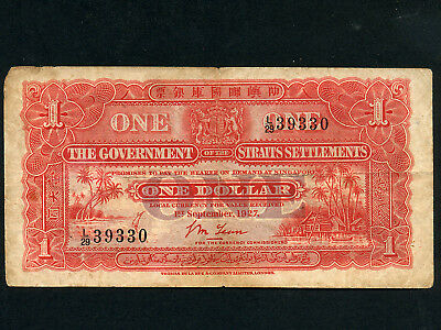 Straits Settlements:P-9a,1 Dollar 1927 * RARE DATE *