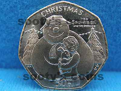 2014 Isle Of Man Christmas 50P The Snowman And The Dog  50 Pence Unc 50P
