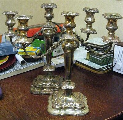 Vintage Quality Pair of Silver Plated Candleabra 13 1/2 ins high