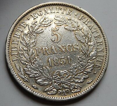 France 5 Francs 1851 A Third Republic .900 Silver