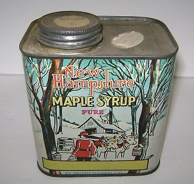 Vintage New Hampshire Tin Pure Maple Syrup Can 1 Quart 32 Oz Used But Nice