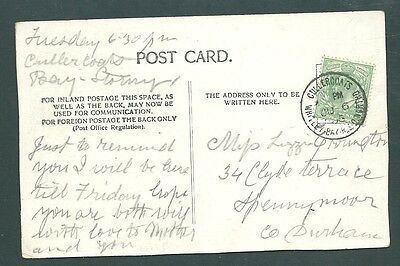 GB Postcard - 1905 CULLERCOATS, WHITLEY BAY RSO cds - Newcastle