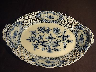 Antique Authentic Meissen Blue Onion Reticulated Oval Bowl 1st Quality Mint