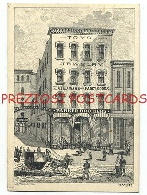 PARKER BROTHERS Toys JEWELRY Fancy Goods - Winter St BOSTON MA 1870s Trade Card