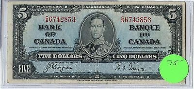 1937 Bank of Canada - Five Dollars $5 Currency Note CH401