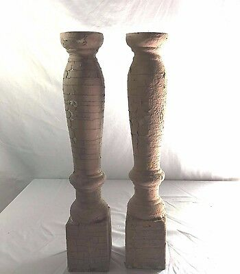 Two(2) RECLAIMED Wood Candlesticks SHABBY Candle Holders Antique Brown 366-17
