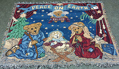 Boyds Bears Christmas Holiday Pageant ~ Peace on Earth Tapestry Afghan Throw