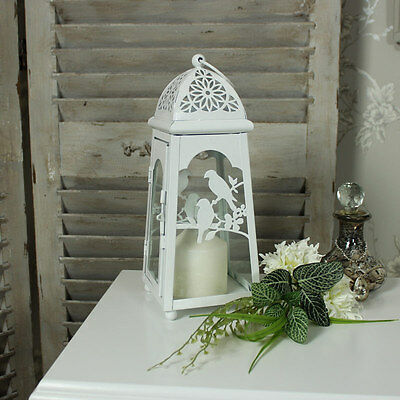 White metal bird candle tea light lantern shabby french chic vintage wedding