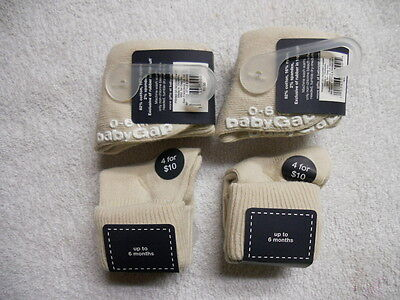 New 4 Pairs Authentic Triple Roll No-Slip Baby Gap Socks Size 0-6 Months Khaki