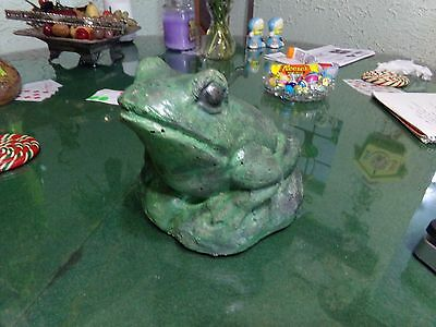 Old 6 1/2 inch Hand Painted Terra Cotta Frog Excellent Aged Condition