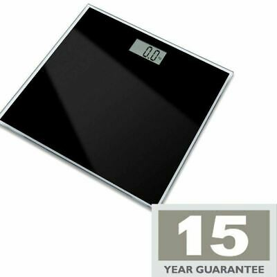 Electronic Black Glass Bathroom Scales Digital Lcd Display 15Yr Warranty