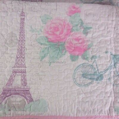 Lil' Pixies Kids EIFFEL TOWER Full Queen Quilt Set pink purple teal COTTON new