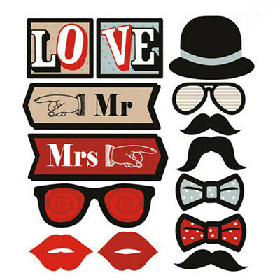 14 Piece Photo Booth Props on Sticks Mr and Mrs Wedding celebration - By TRIXES