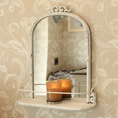 Ivory Antique Style wall Mirror shelf bedroom living room french country  home