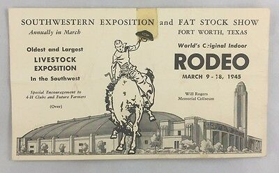 1945 Fort Worth Southwestern Exposition Fat Stock Show Rodeo Advertising  Card