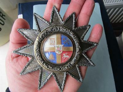 Superb Welsh MASSIVE SILVER Early Victorian FORESTERS  JEWEL 1863   5 inches
