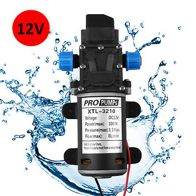 12V DC 160PSI 8L/min High Pressure Diaphragm Self-priming Water Pump Automatic