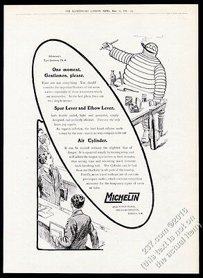 1910 Michelin Man Bibendum lecture 4 Michelin Tire BIG vintage print ad