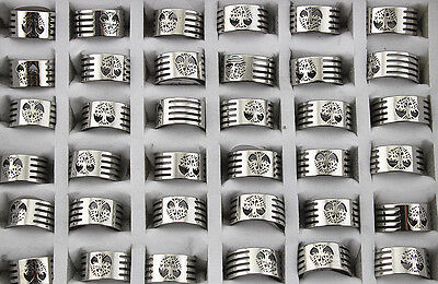 35pcs Stainless Steel Rings For Men Women Wholesale Lots Tree of life Ring AH954