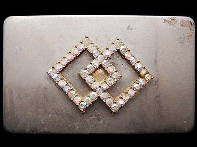IJ25166 VINTAGE 1970s **INTERSECTING DIAMONDS w/RHINESTONES** FASHION/ART BUCKLE